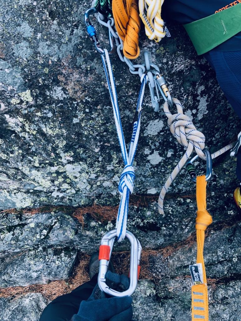 Master point -yläköysiankkuri kalliokiipeilyyn